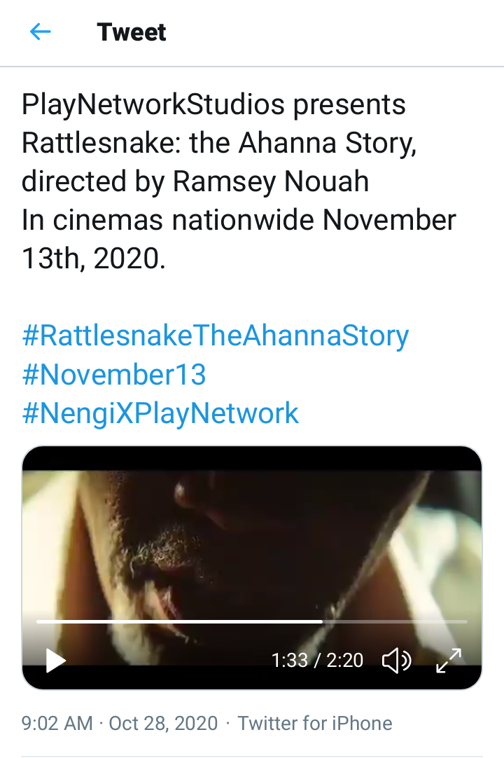 Nengi accepts role in rattle snake movie