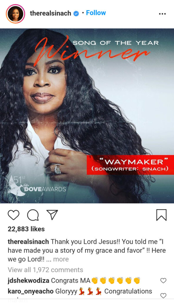 Dove Awards 2020 – Sinach's Way Maker Is The Song Of The Year