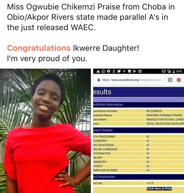 A Nigerian girl identified as Ogwubie Chikemzi Praise is being applauded by social media users after she got all A's in her result.