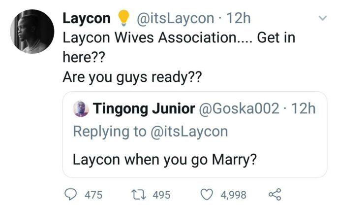 "In her words, ""But I have Bayelsa wife for you..your spec oo"". In response, Laycon asked Nengi if the lady in question is as sensible as she is. He tweeted, ""She get sense like you???"""