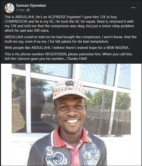Abdullahi is a honest Nigerian engineer who returned large some of money