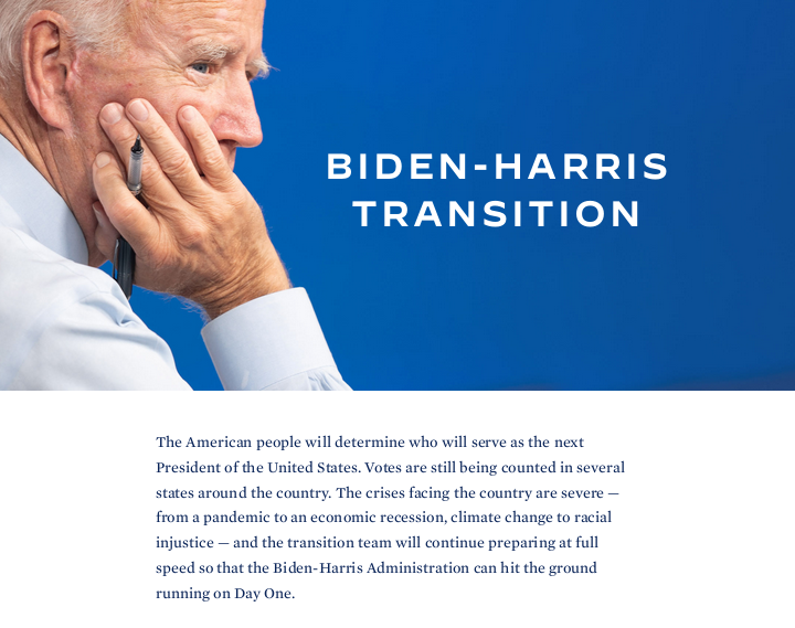 Joe Biden launches transition website ahead of presidency victory