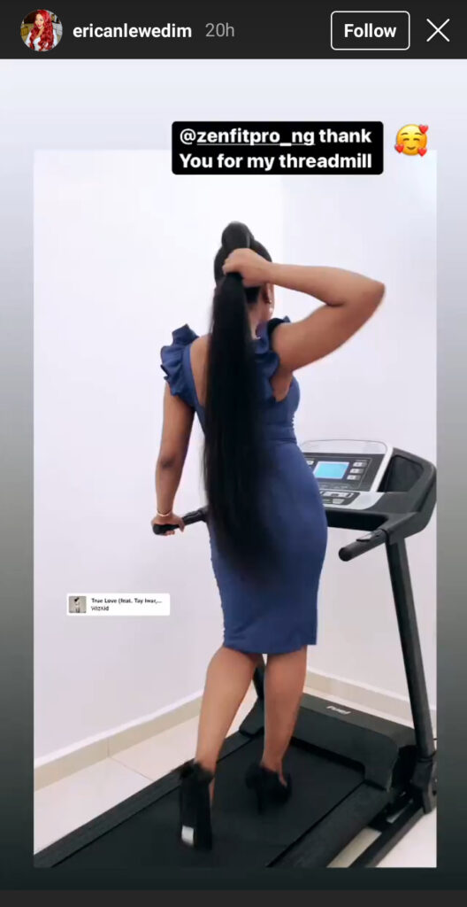 Big Brother Tv reality star takes to instagram to share treadmill gift received from her Elite fans